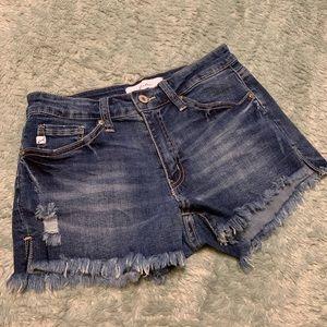 KanCan Mid Wash Distressed Denim Cutoff Shorts Y10
